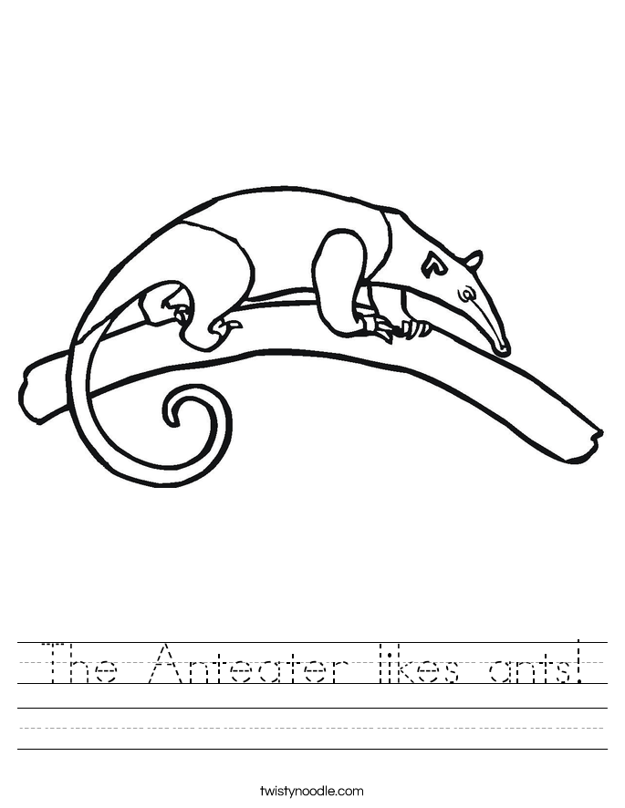 The Anteater likes ants! Worksheet