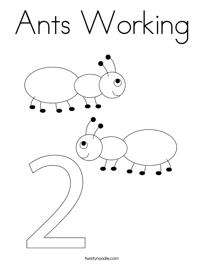 Ants Working Coloring Page