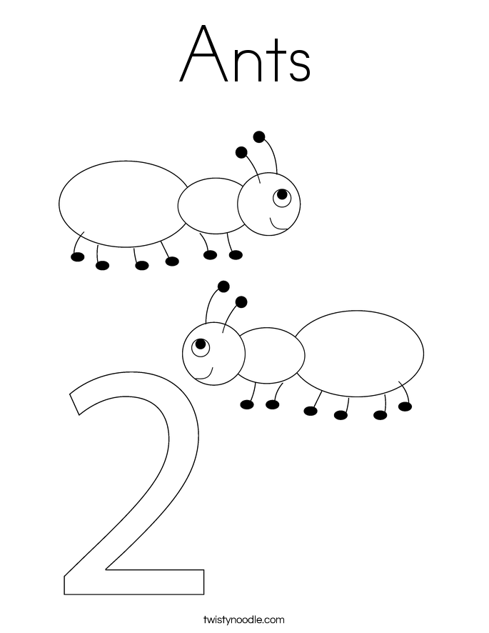 A is for Ant Coloring Page Twisty Noodle