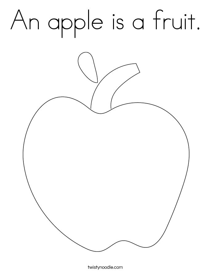 An apple is a fruit. Coloring Page