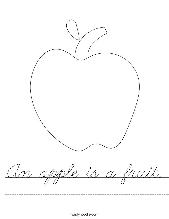 An apple is a fruit. Worksheet
