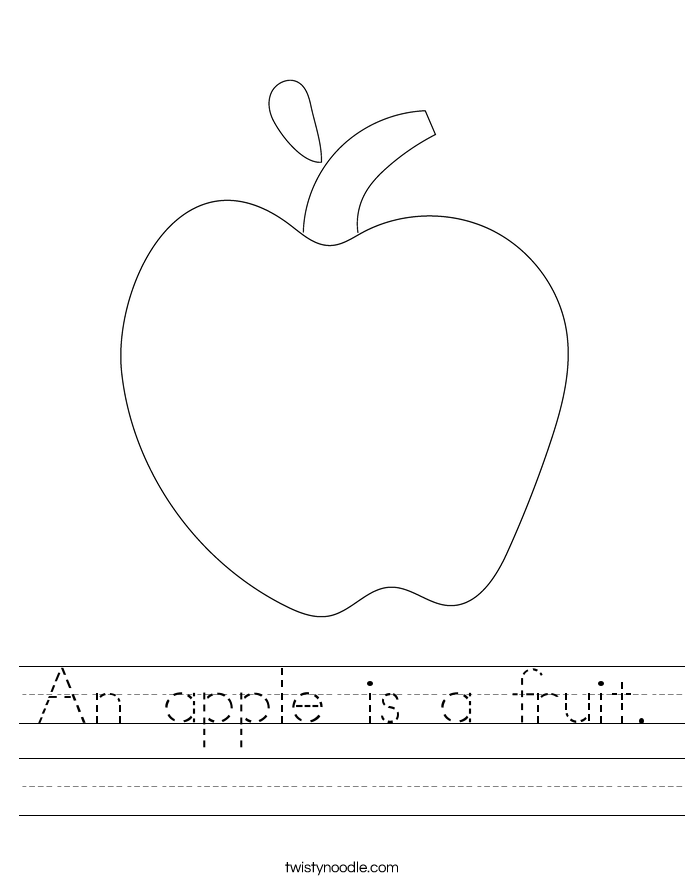 An apple is a fruit. Worksheet