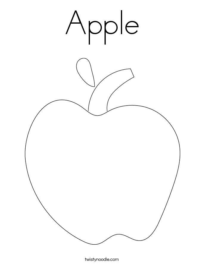 Apple coloring page twisty noodle Pear Apple Coloring Page Apple Worm Coloring Page School Bus Coloring Page