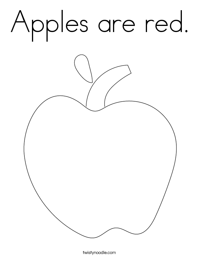 Apples are red. Coloring Page