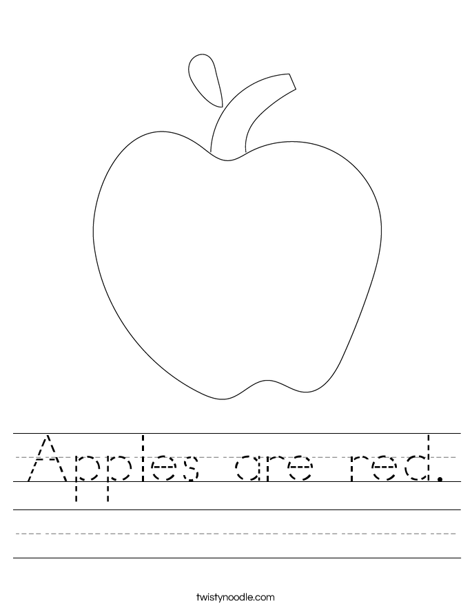 Apples are red. Worksheet