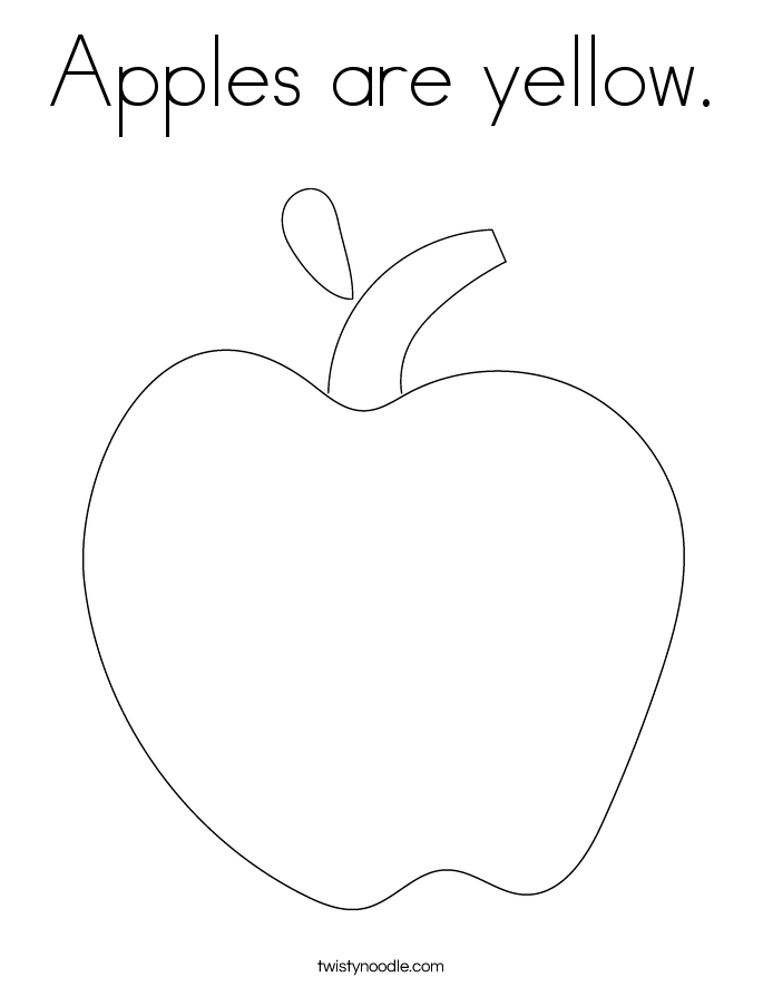 Apples are yellow. Coloring Page
