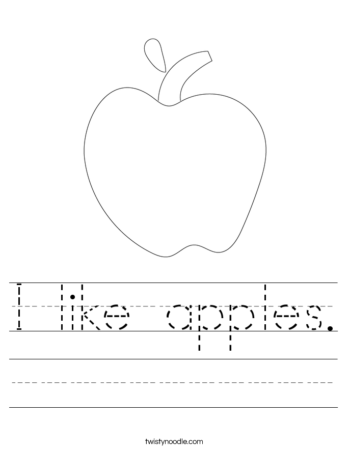 I like apples. Worksheet