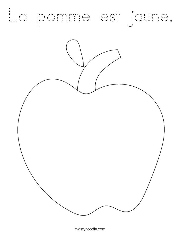 La pomme est jaune. Coloring Page