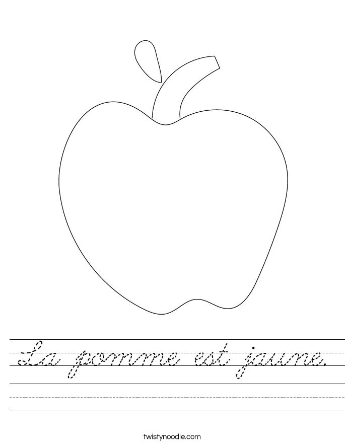 La pomme est jaune. Worksheet