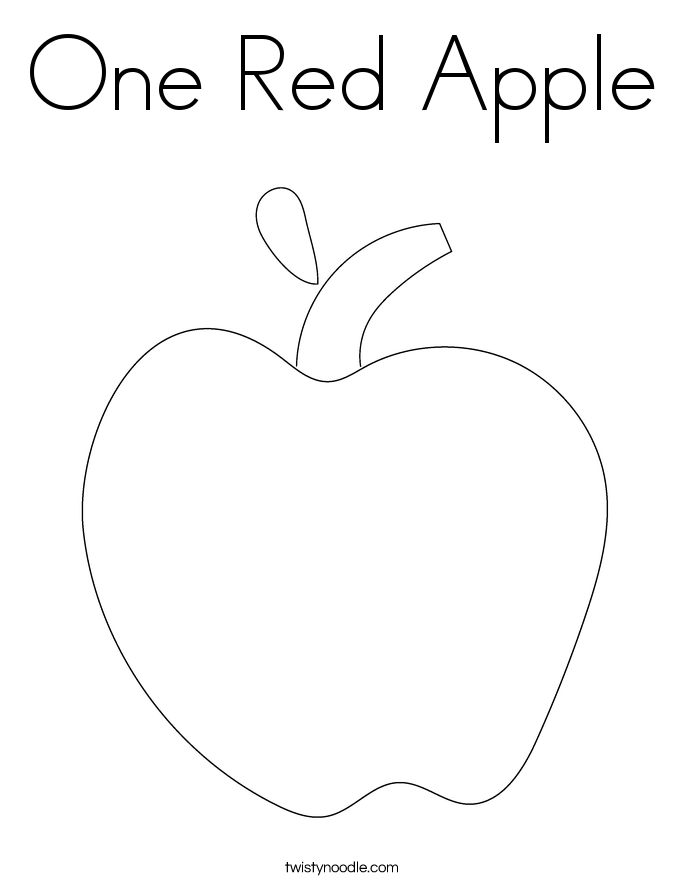 One Red Apple Coloring Page - Twisty Noodle