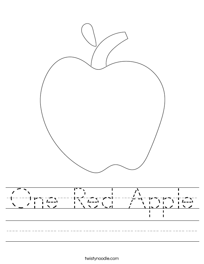 One Red Apple Worksheet Twisty Noodle