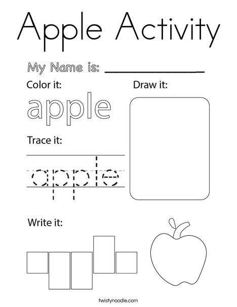 Apple Activity Coloring Page