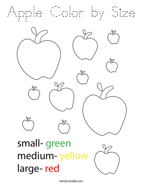 Apple Color by Size Coloring Page