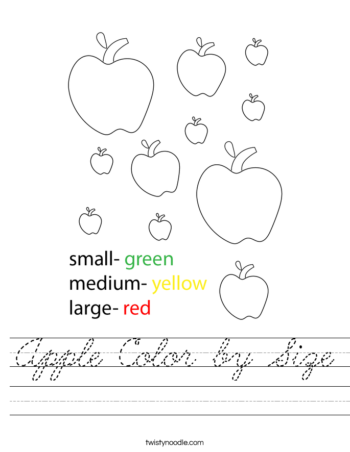Apple Color by Size Worksheet