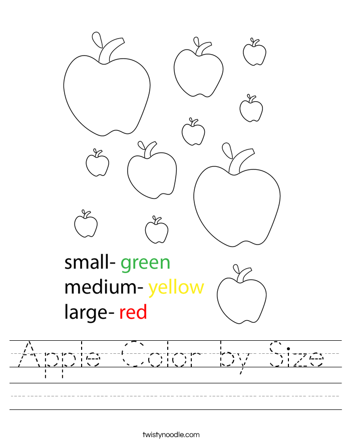 Apple Color by Size Worksheet