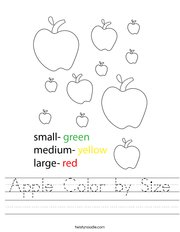 Apple Color by Size Handwriting Sheet