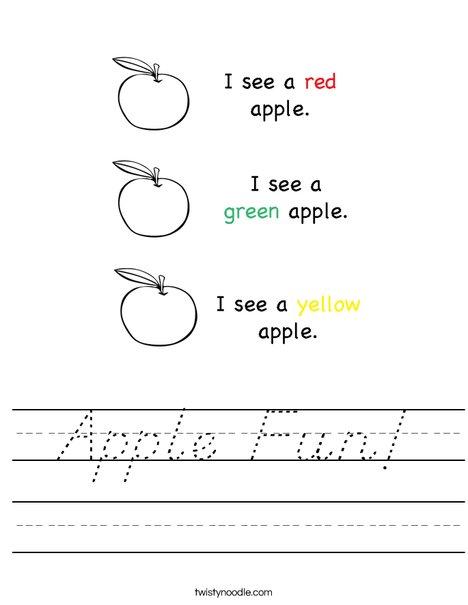 Apple Colors Worksheet