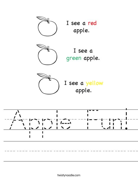 Apple Fun Worksheet - Twisty Noodle