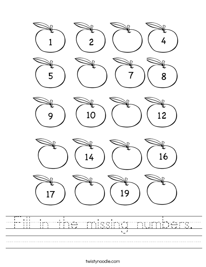 Fill in the missing numbers Worksheet - Twisty Noodle