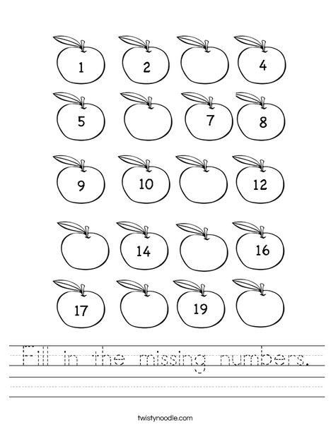 Worksheets Missing Number Worksheets fill in the missing numbers worksheet twisty noodle apple counting worksheet