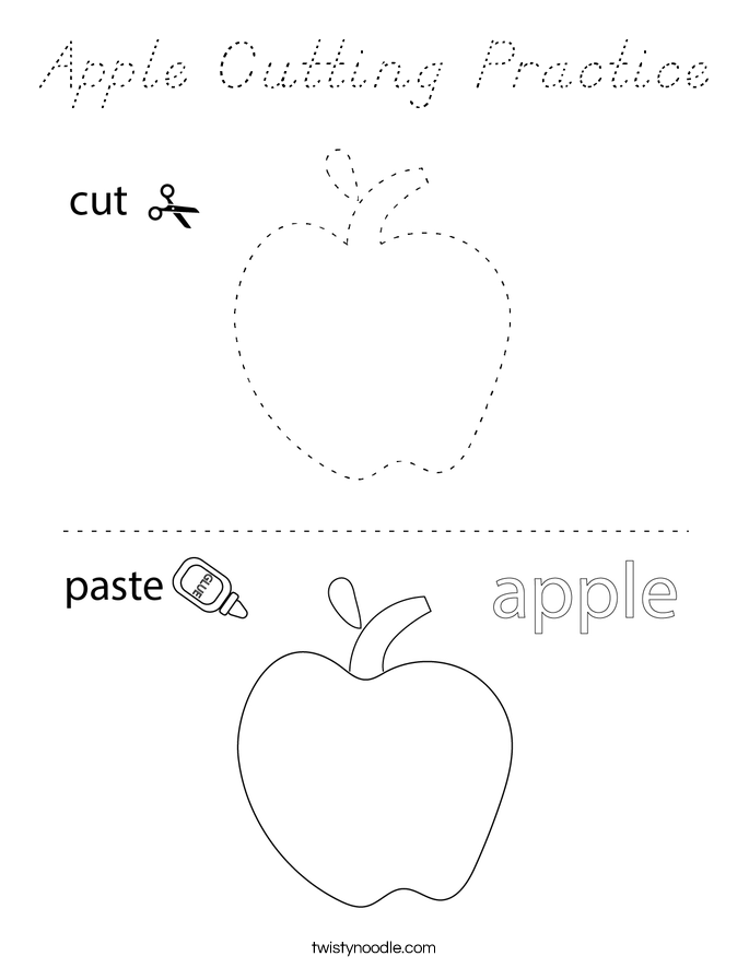 Apple Cutting Practice Coloring Page