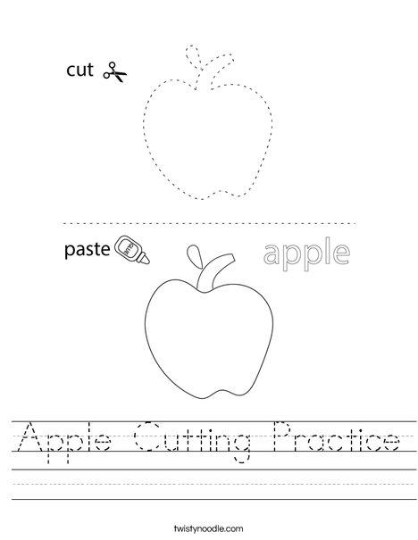 Apple Cutting Practice Worksheet