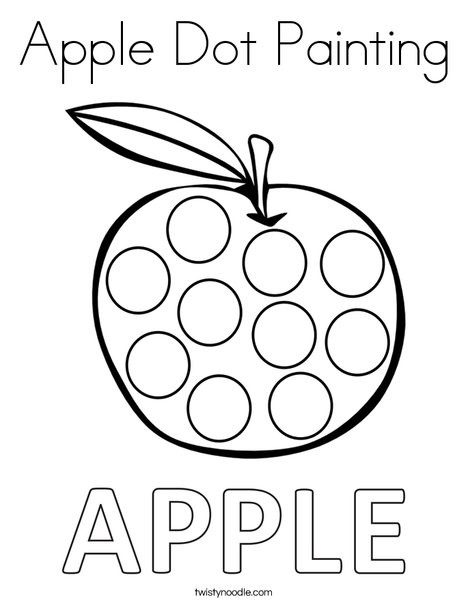 Apple Dot Painting Coloring Page