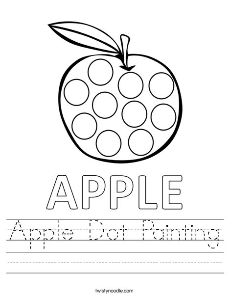 Apple Dot Painting Worksheet