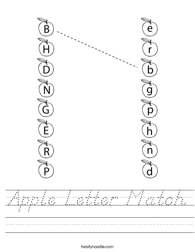 Apple Letter Match Worksheet