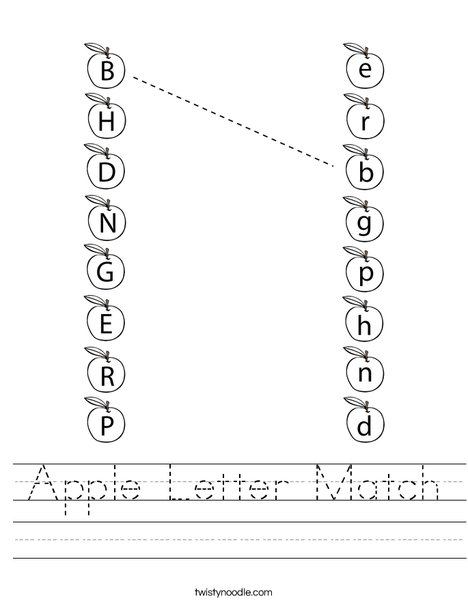 Apple Letter Match Worksheet