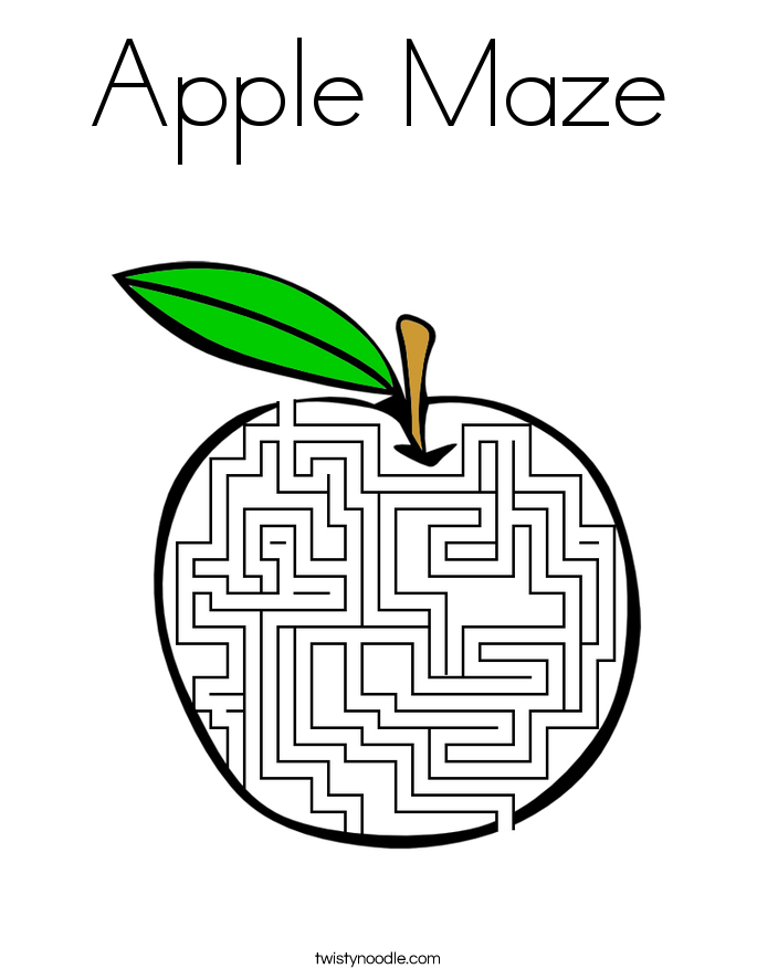 Apple Maze Coloring Page