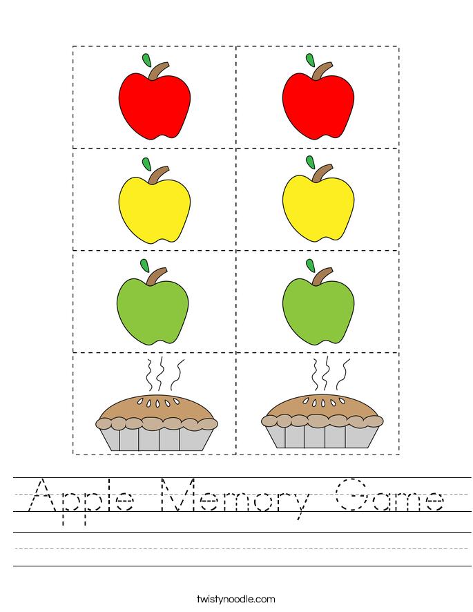 Apple Memory Game Worksheet