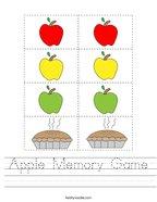 Apple Memory Game Handwriting Sheet