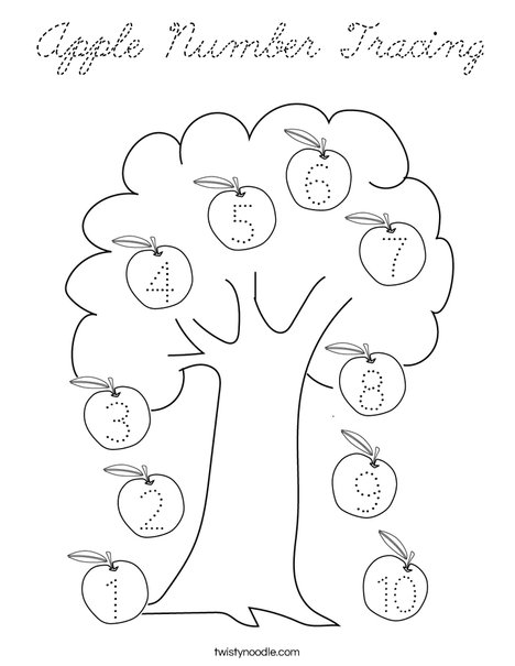 Apple Number Tracing Coloring Page