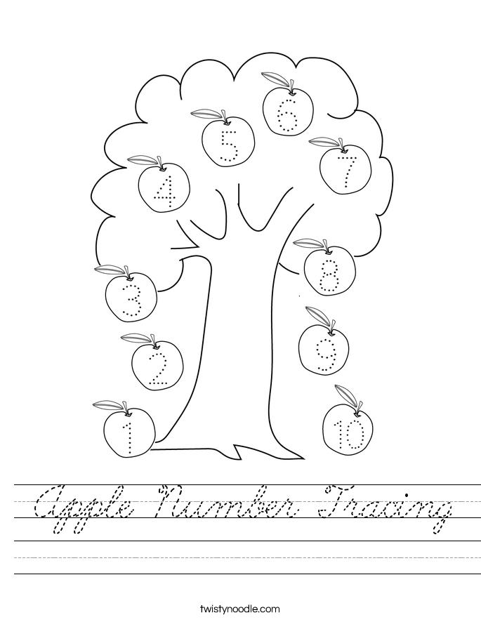 Apple Number Tracing Worksheet