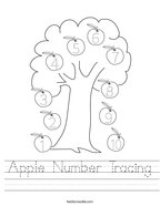 Apple Number Tracing Handwriting Sheet