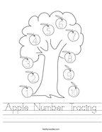 Apple Number Tracing Handwriting Sheet