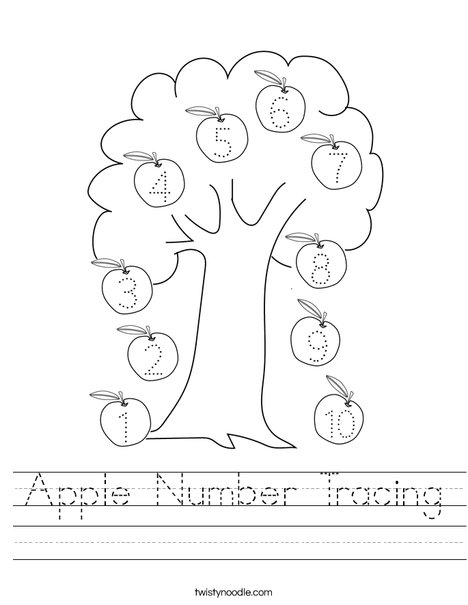 Apple Number Tracing Worksheet