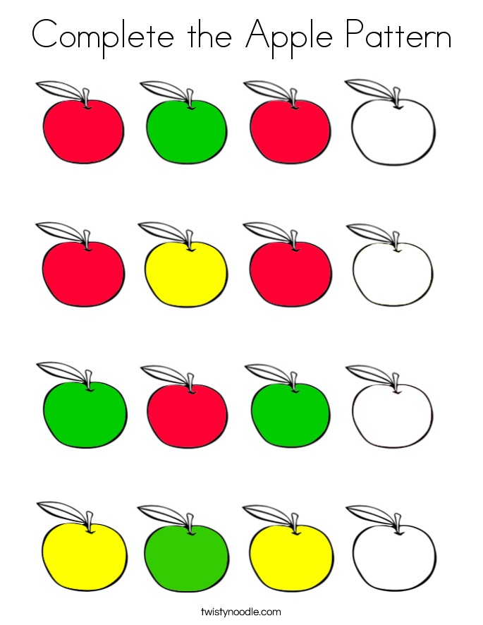 Complete the Apple Pattern Coloring Page - Twisty Noodle