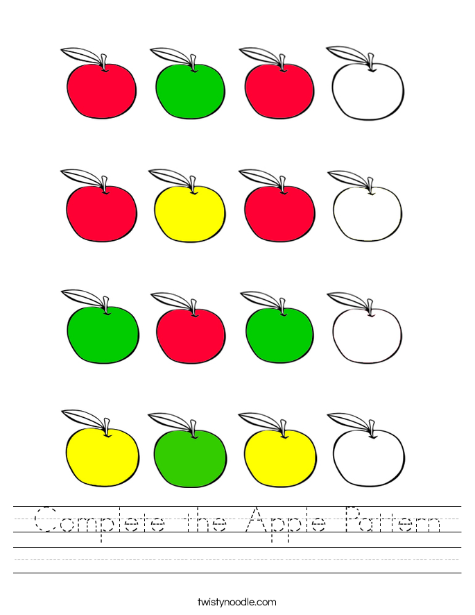Complete the Apple Pattern Worksheet