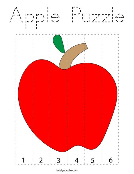 Apple Puzzle Coloring Page - Tracing - Twisty Noodle