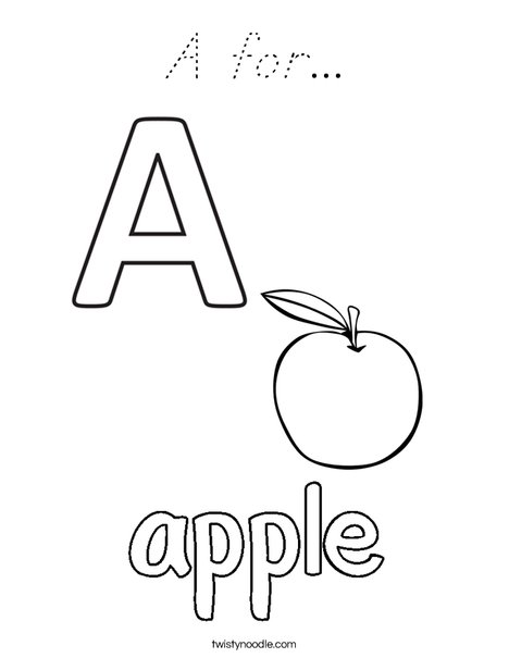 Apple starts with A Coloring Page