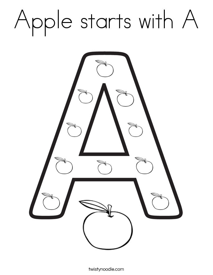 apple starts with a coloring page - Letter A Coloring Pages