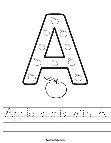 Apple starts with A. Worksheet