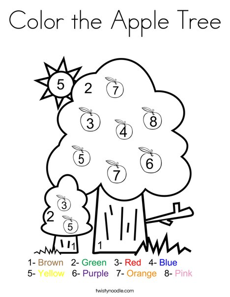 Color The Apple Tree Coloring Page