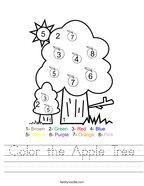 Color the Apple Tree Handwriting Sheet