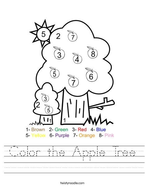 Color The Apple Tree Worksheet