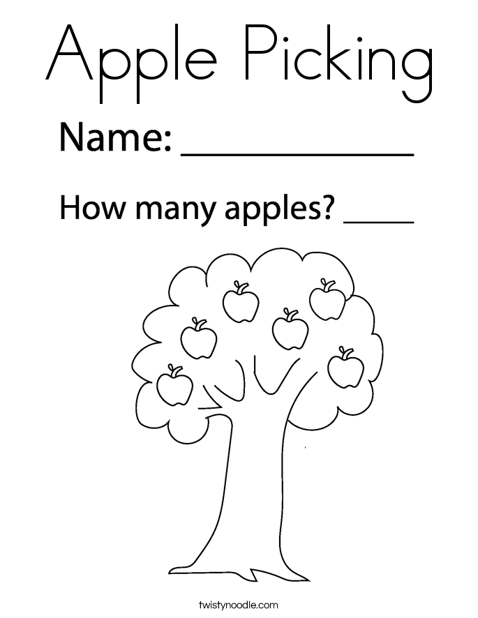 Apple Picking Coloring Page Twisty
