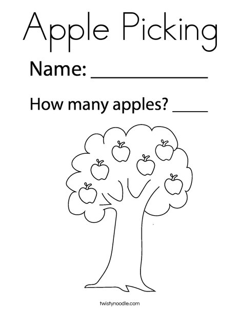 Apple with Leaves Coloring Page