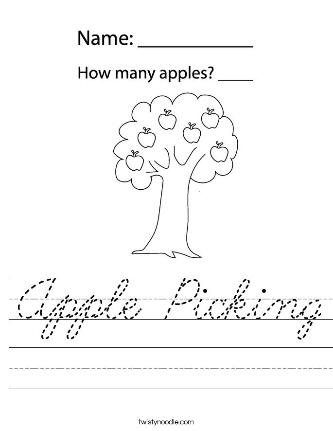Apple Picking Worksheet